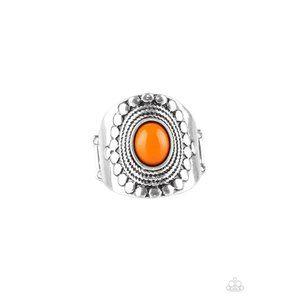 ZEN To One - Orange Silver Stretchy Ring Jewelry